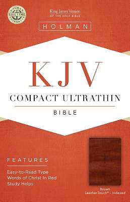 KJV Compact Ultrathin Reference Bible, Brown Cross Leatherto