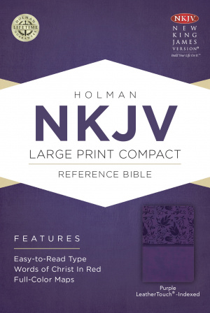 NKJV Large Print Compact Reference Bible, Purple Leathertouc