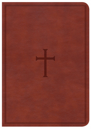 CSB Large Print Compact Reference Bible, Brown Leathertouch,