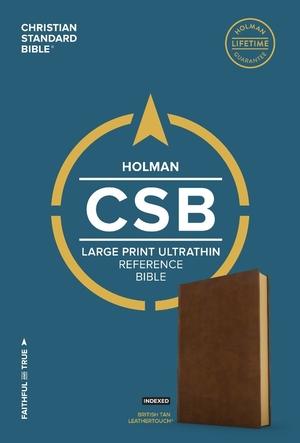 CSB Large Print Ultrathin Reference Bible, British Tan Leath