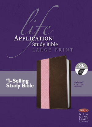 NKJV Life Application Study Bible: Large Print, Dark Brown/Pink, Leather-look, Thumb Indexed