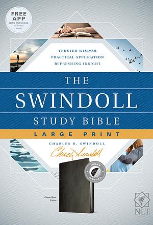 The NLT Swindoll Study Bible, Large Print, Black, Indexed