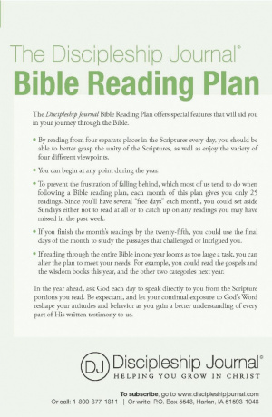 The Discipleship Journal Bible Reading Plan - Pack of 25