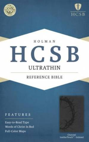 HCSB Ultrathin Reference Bible, Charcoal Leathertouch Indexe