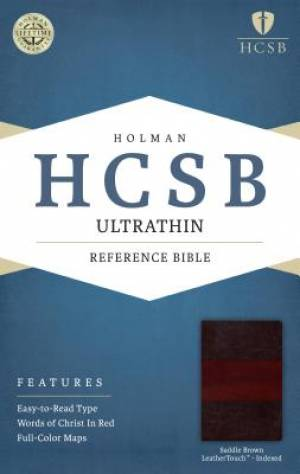 HCSB Ultrathin Reference Bible, Saddle Brown Leathertouch In
