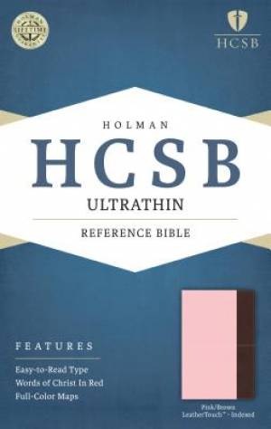 HCSB Ultrathin Reference Bible, Pink/Brown Leathertouch Inde