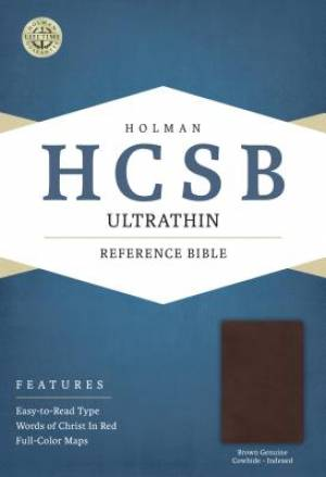 HCSB Ultrathin Reference Bible, Brown Genuine Cowhide Indexe