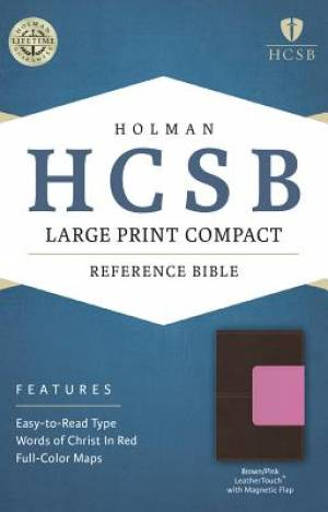 HCSB Large Print Compact Bible, Brown/Pink Leathertouch With