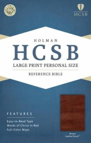 HCSB Large Print Personal Size Bible, Brown Leathertouch