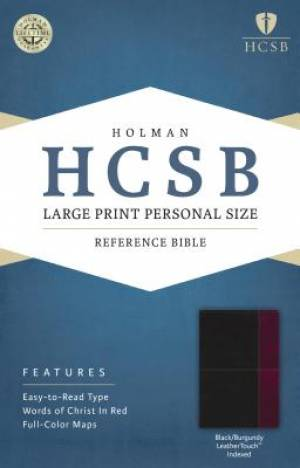 HCSB Large Print Personal Size Bible, Black/Burgundy Leather