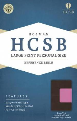 HCSB Large Print Personal Size Bible, Pink/Brown Leathertouc