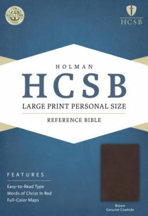 HCSB Large Print Personal Size Bible, Brown Genuine Cowhide