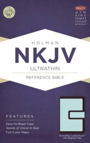 NKJV Ultrathin Reference Bible Brown/Blue LeatherTouch with Magnetic Flap