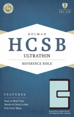HCSB Ultrathin Reference Bible, Brown/Blue Leathertouch With