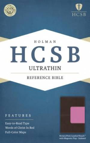 HCSB Ultrathin Reference Bible, Brown/Pink Leathertouch With