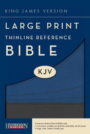 KJV Large Print Thinline Reference Bible Grey Imitation Leather