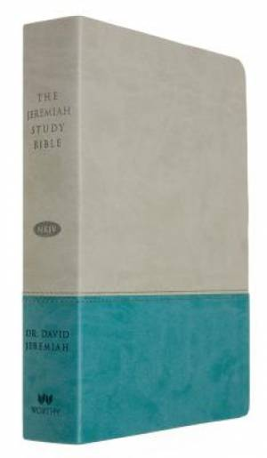 NKJV Jeremiah Study Bible,  Gray/Teal Leatherluxe® W/Thu, Th