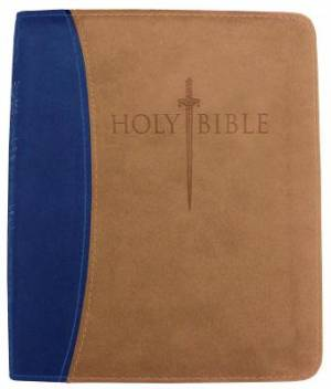 Kjver Thinline Bible/Personal Size-Blue/Tan Ultrasoft Indexe