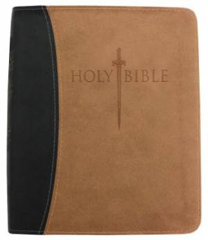 Kjver Thinline Bible/Large Print-Black/Tan Ultrasoft