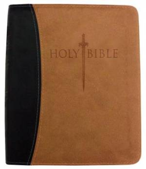 Kjver Thinline Bible/Large Print-Black/Tan Ultrasoft Indexed