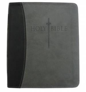 Kjver Thinline Bible/Large Print-Black/Grey Ultrasoft