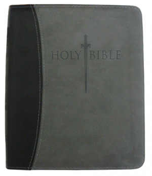 Kjver Thinline Bible/Large Print-Black/Grey Ultrasoft Indexe