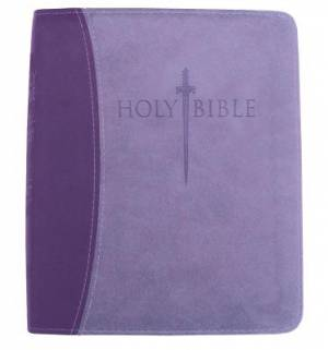 Kjver Thinline Bible/Large Print-Dark Purple/Light Purple Ul
