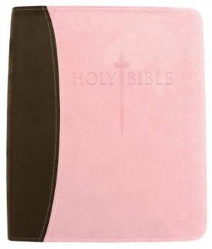 Kjver Thinline Bible/Large Print-Chocolate/Pink Ultrasoft In