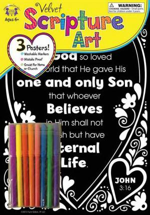 Velvet Scripture Art - John 3:16 Poster