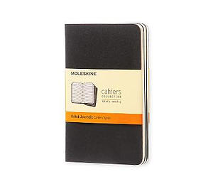 Black Moleskine Pocket Ruled Cahier Journal Set