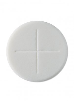 """Peoples Altar Bread Single Cross 1 1/8"""" White Pack of 250"""
