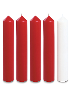 """Red and White Advent Candle Set (2"""" Diameter)"""