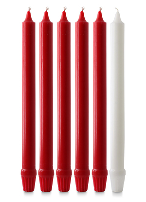 "Red & White Advent Candle Set (1"" Diameter)"