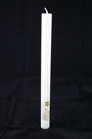 White Advent Candle Printed with Gold (Each)