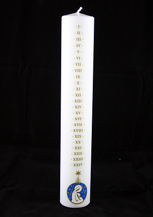 Large White Advent Candle with Mother & Child Design - Single