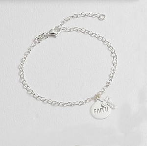 Sterling Silver Faith and Cross Bracelet