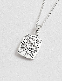 Sterling Silver Cross & Faith Pendant