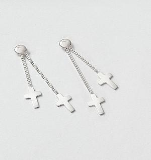 Silver Cross Drop Earrings
