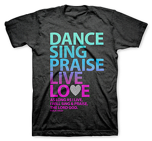 Dance Sing Praise T Shirt: Grey, Adult Small