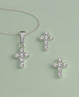 Crystal Cross Earrings & Pendant Set: Silver with Clear Crystal