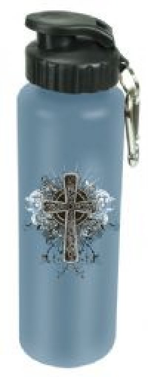 Stainless Steel Water Bottle - Cross Blue