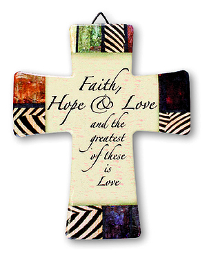 Faith Hope Love Porcelain Cross