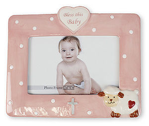 Bless this Baby Pink Photo Frame