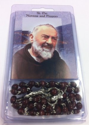 Brown Wooden Rosary with St Pio Novena and Prayers