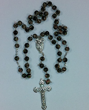 Black Cloison Bead Rosary