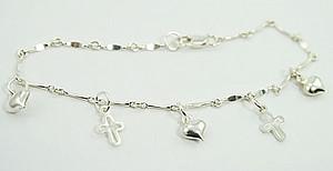 Cross & Heart Charm Bracelet: Silver