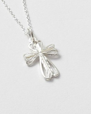 Stirling Silver Diamond Cut Cross