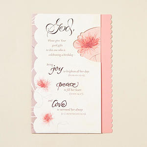 Woman's Birthday - Joy, Peace, Love - 6 Premium Cards