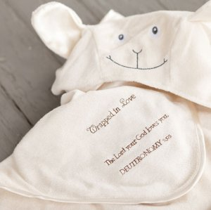 Really Woolly Blessing for Baby Hoodie Towel