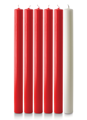 """Red and White Advent Candle Set (1"""" Diameter)"""